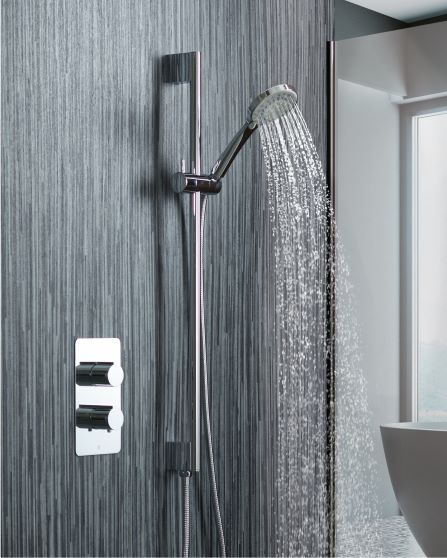 Curve Shower Rail with Integrated Wall Outlet, Hose and Multi-Function Hand Shower - Tapron