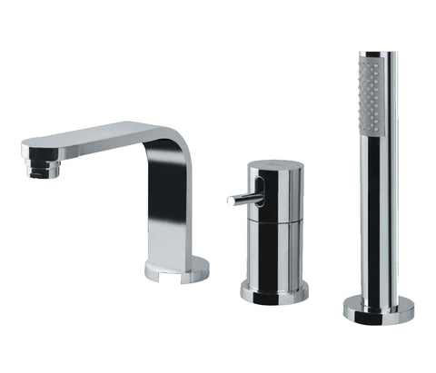 Single lever 3-hole mixer deck mounted with spout, extractable hand shower and diverter, HP 1 [TRA-57277]