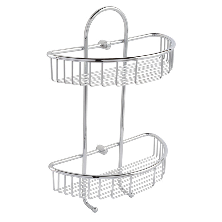 Twin Round Corner Shelf Basket with Hooks