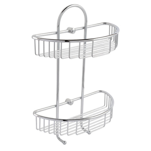 Twin Round Corner Shelf Basket with Hooks [2004]