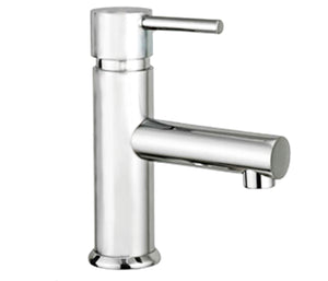 Round mini basin mixer without pop up waste
