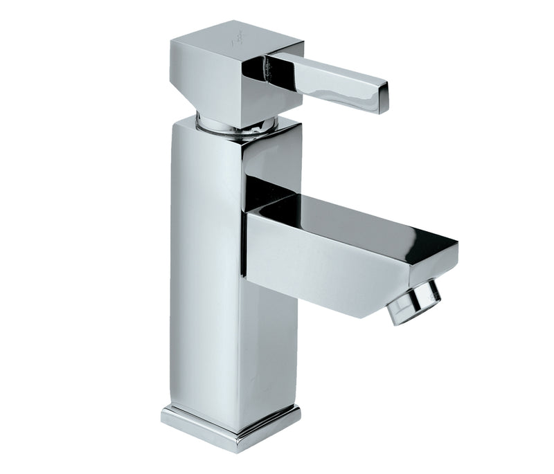 Square mini single lever basin mixer without pop up waste
