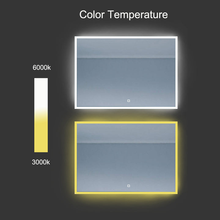 Potrait/Landscape Colour Temperature control Neon LED Mirror