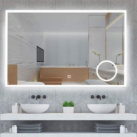 Neon LED Mirror with an Additional Magnifying Mirror [TRNO800M]