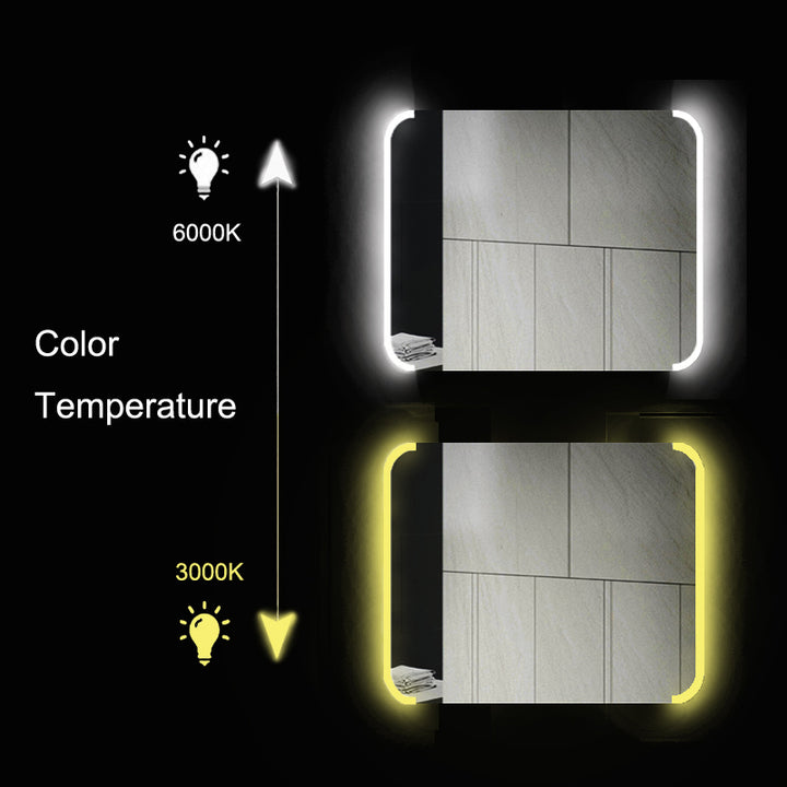 Color Temperature | Single Door LED Mirror Cabinet with Bluetooth Speaker | tapron.co.uk
