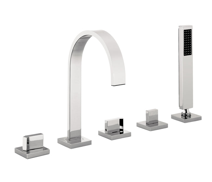 5-Hole Bath Shower Mixer with Extractable Hose and Handset