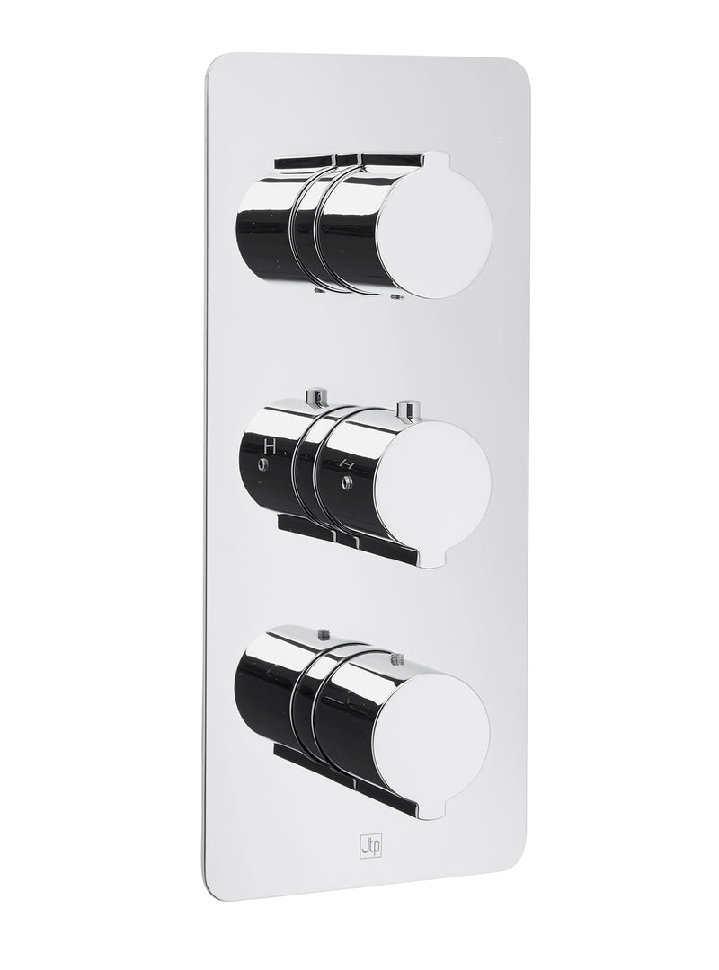 Curve Thermostatic Concealed 3 Outlet Shower Valve, Vertical - Tapron