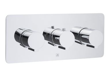 Curve Thermostatic Concealed 2 Outlet Shower Valve, Horizontal - Tapron