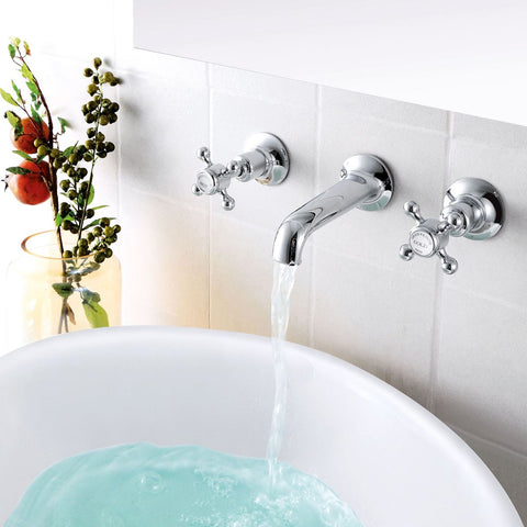 Chester Crosshead Wall Mounted Basin Mixer - Nickel [76089A]