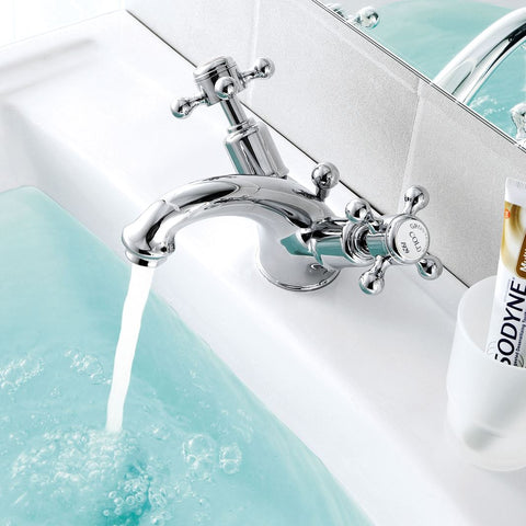 Chester Crosshead Basin Mixer Tap With Pop-Up Waste - Chrome [76169]