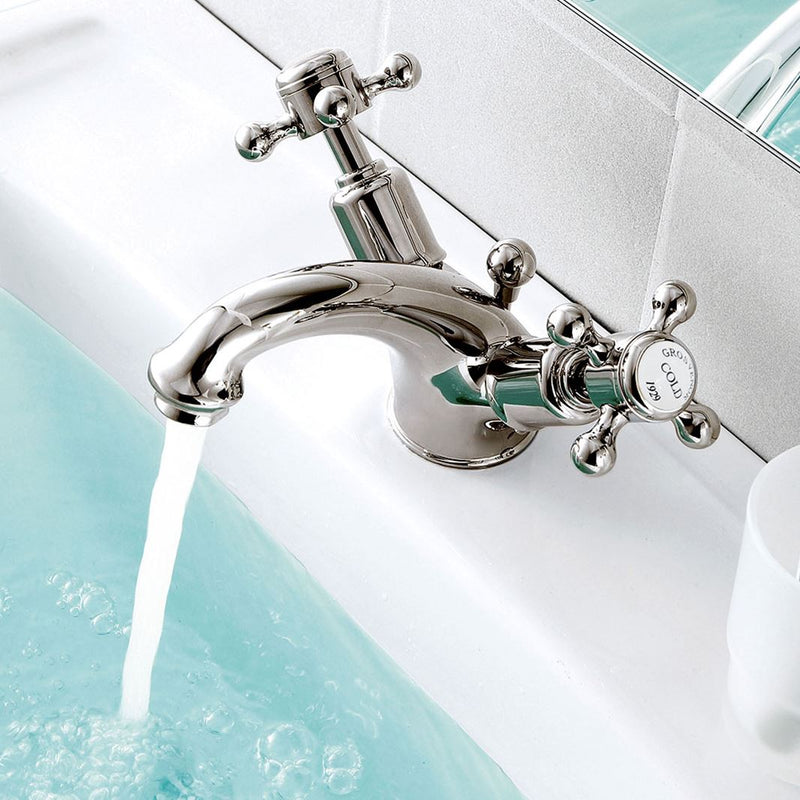 Chester crosshead basin mixer tap with pop up waste