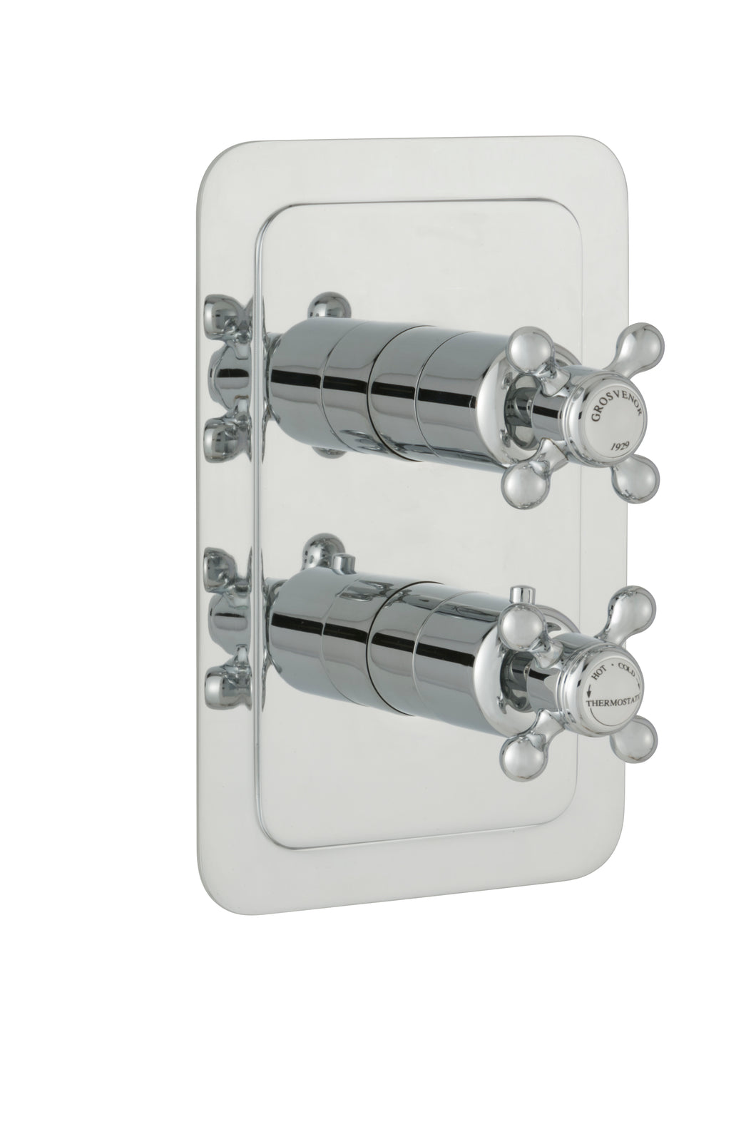 Chester Crosshead Single Outlet Concealed Thermostatic Vertical Shower Valve - Nickel