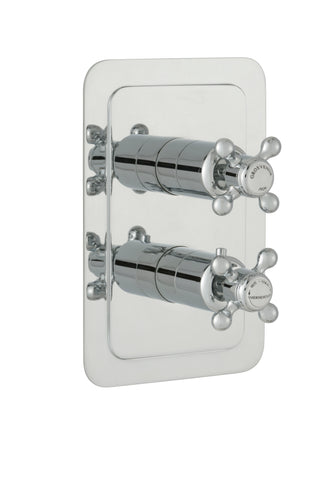 Chester Crosshead Single Outlet Concealed Thermostatic Vertical Shower Valve - Nickel [76651NK]