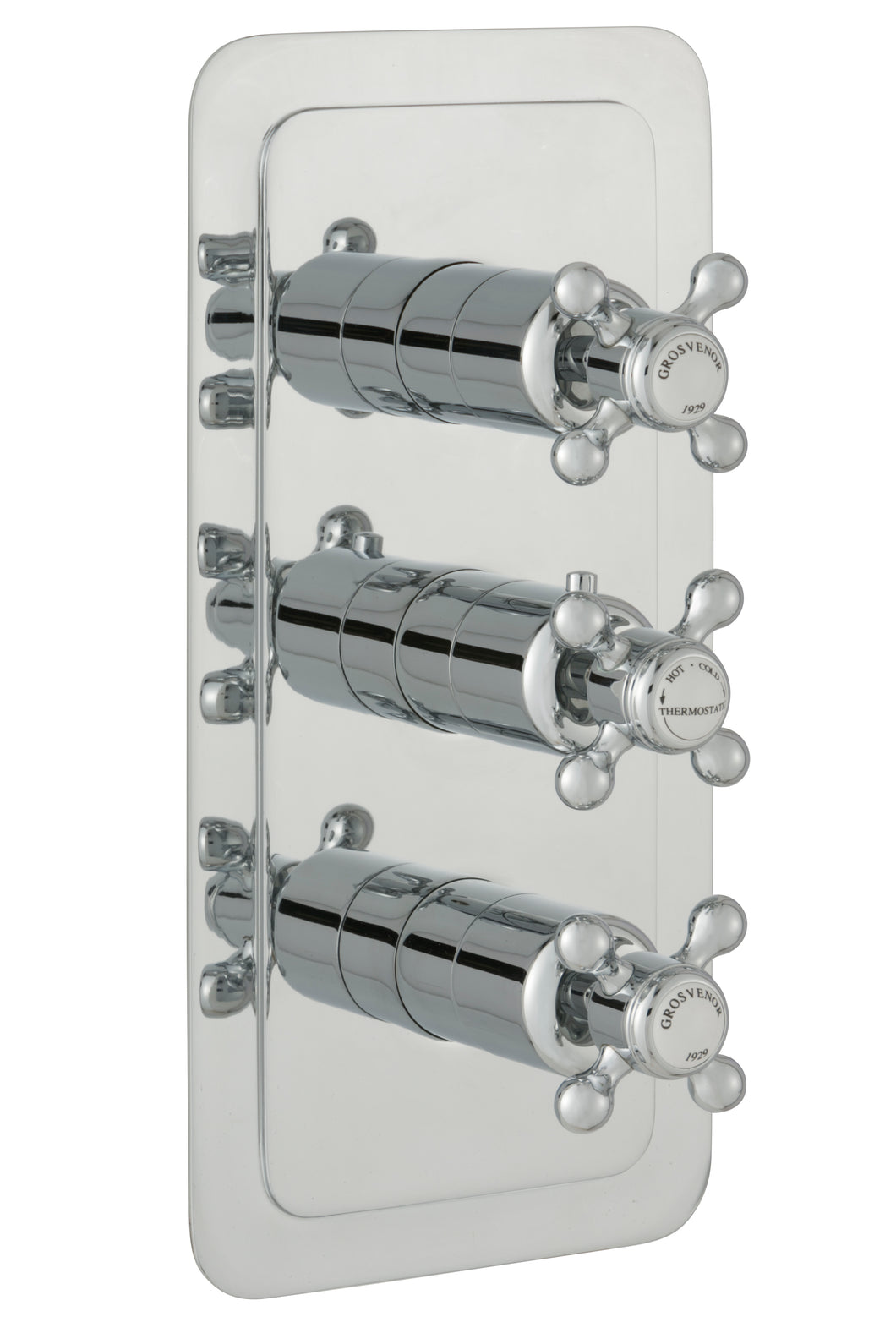 Chester Crosshead Two Outlet 3 Control Concealed Thermostatic Shower Valve Vertical - Nickel