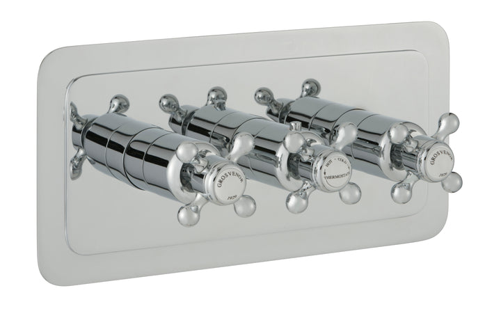 Chester Crosshead Three Outlet Concealed Thermostatic Shower Valve Horizontal - Nickel
