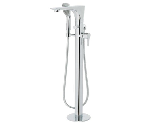 Chronos Chrome Side Lever Floor Standing Bath Shower Mixer with Kit [79534]