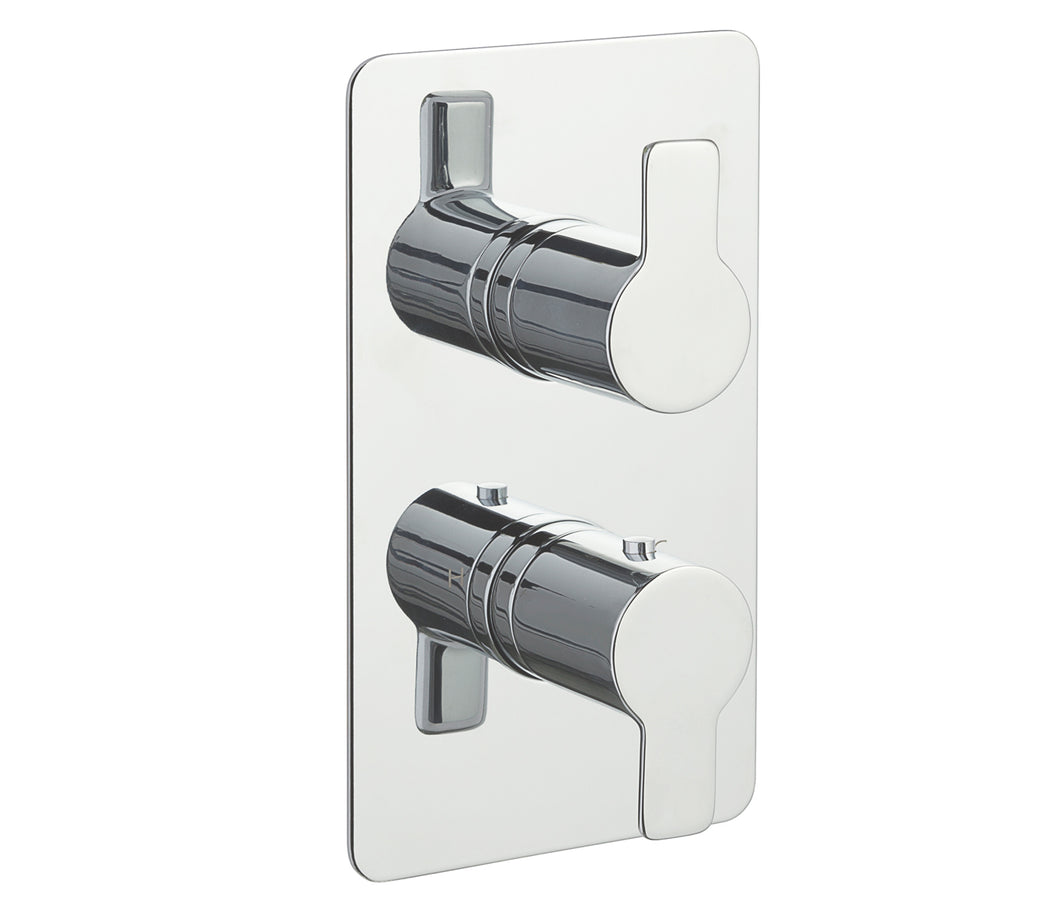 Chronos Chrome Thermostatic Concealed 3 Outlet Shower Valve - Vertical - Tapron