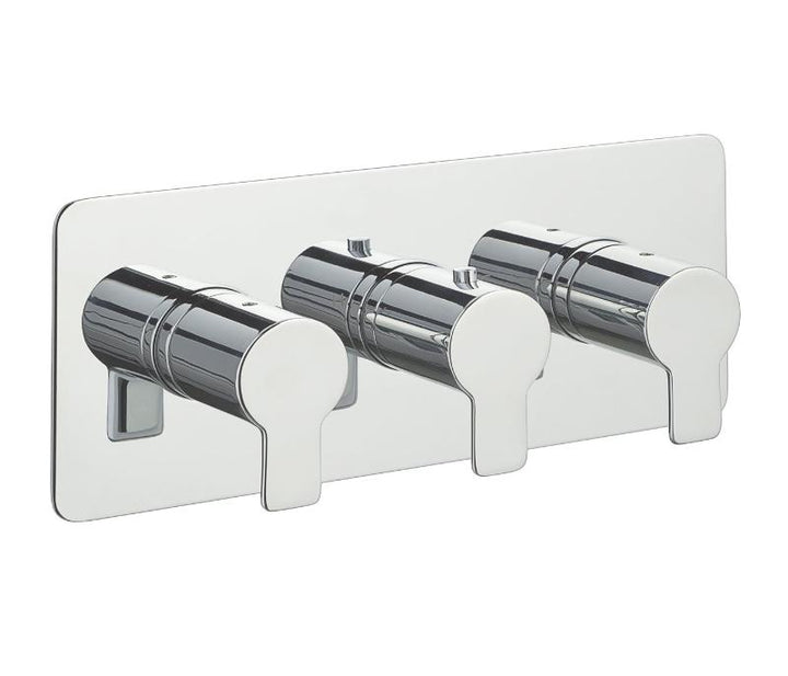 Chronos Chrome Thermostatic Concealed 3 Outlet Shower Valve  Horizontal - Tapron