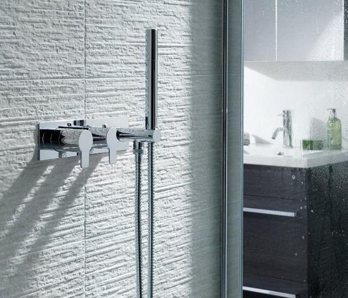 Chronos Chrome Thermostatic Concealed 1 Outlet Shower Valve with Attached Handset - Tapron