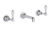 Chester Lever 3 Hole Wall Mounted Basin Mixer - Nickel [85089ANK]