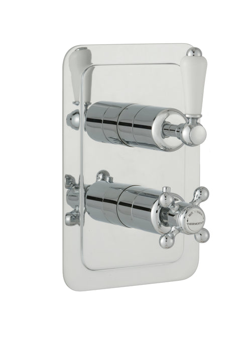Chester Lever Two Outlet Concealed Thermostatic Shower Valve Vertical -Nickel