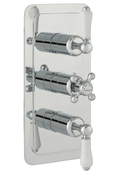 Chester Lever Two Outlet 3 Control Concealed Thermostatic Shower Valve Vertical - Nickel