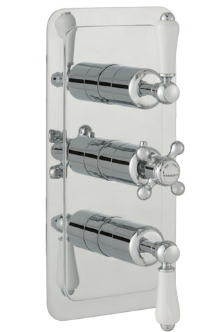 Chester Lever Two Outlet 3 Control Concealed Thermostatic Shower Valve, Vertical - Nickel [85690NK]
