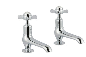 Chester Pinch Long Nose Basin Pillar Taps - Nickel