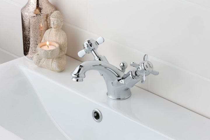 Chester Dual Pinch Handle Basin Mixer with Pop-up Waste - Nickel