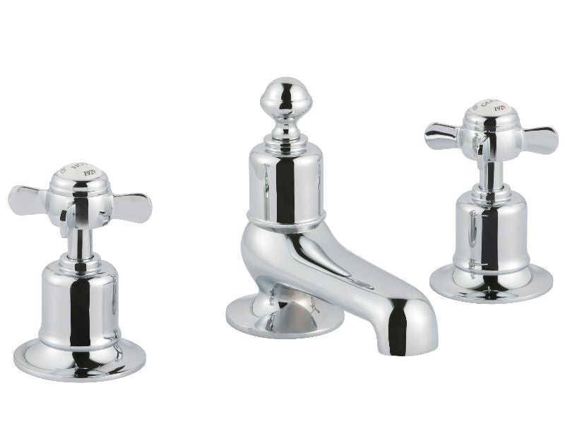 Chester Pinch 3 - Hole Long Nose Basin Mixer - Nickel
