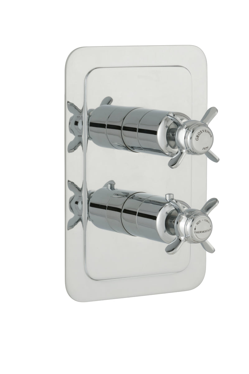 Chester Pinch Thermostatic Conceal 2 Outlet Shower Valve Vertical - Nickel
