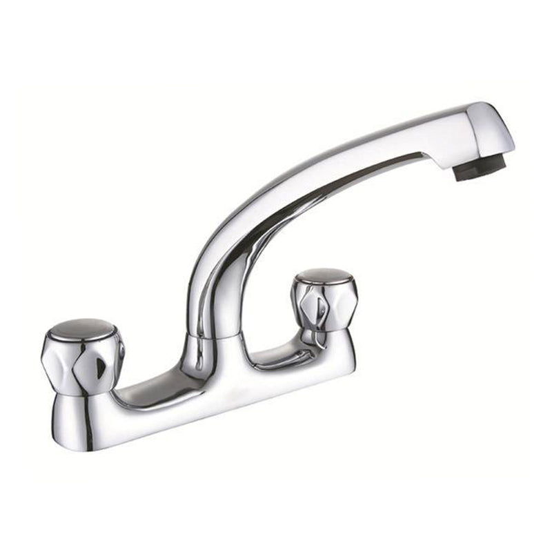 Astra Modern Brass Sink Mixer Tap with Diamond Shape Lever and Chrome Finish Swivel Spout - Height 210mm x  Projection 190mm [3327]