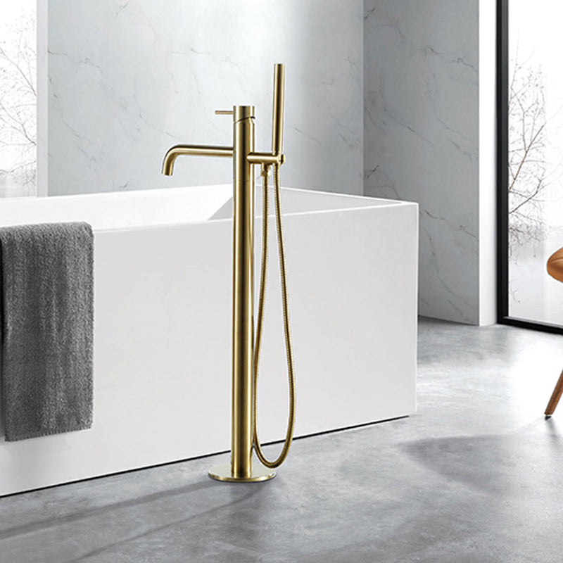 Brushed Gold Floor standing Bath Shower Mixer with kit