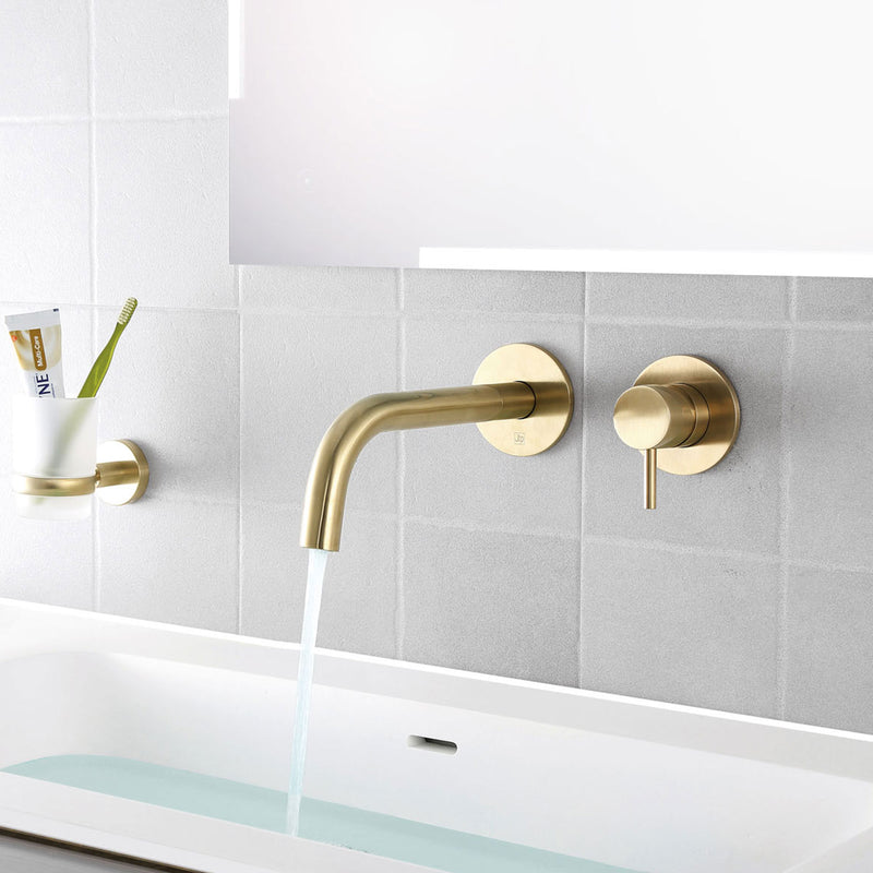 Elegant Brushed Gold Tumbler Holder for Contemporary Bathroom Deigns are made of Sturdy Brass making it resistant to Rust and Corrosion and is Easy to Install [23141BBR]