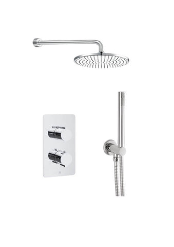 Luna Thermostatic 2 Outlet Shower Valve with Round Water Outlet [COM 070]
