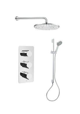 Curve Thermostatic Shower Valve & Shower Rail with Wall Outlet - Tapron