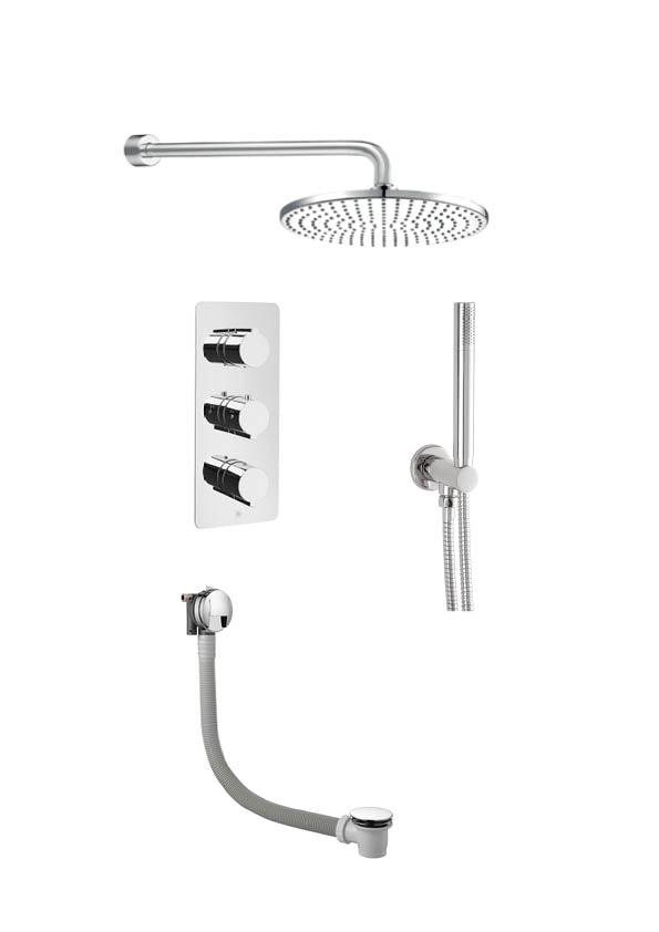 Curve Thermostatic 3 Outlet Shower, Exofil With Click Clack Waste - Tapron