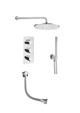 Luna Thermostatic 3 Outlet Shower, Exofil With Click Clack Waste [COM 073]