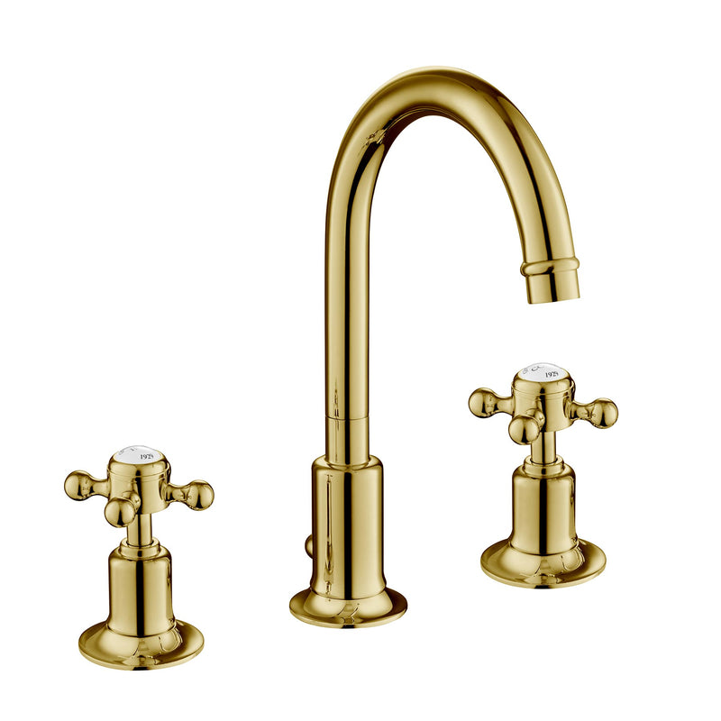 Antique Chester Cross 3 Hole Basin Gold Tap for Bathroom constructed using Brass with Brushed Brass finish, LP 0.2