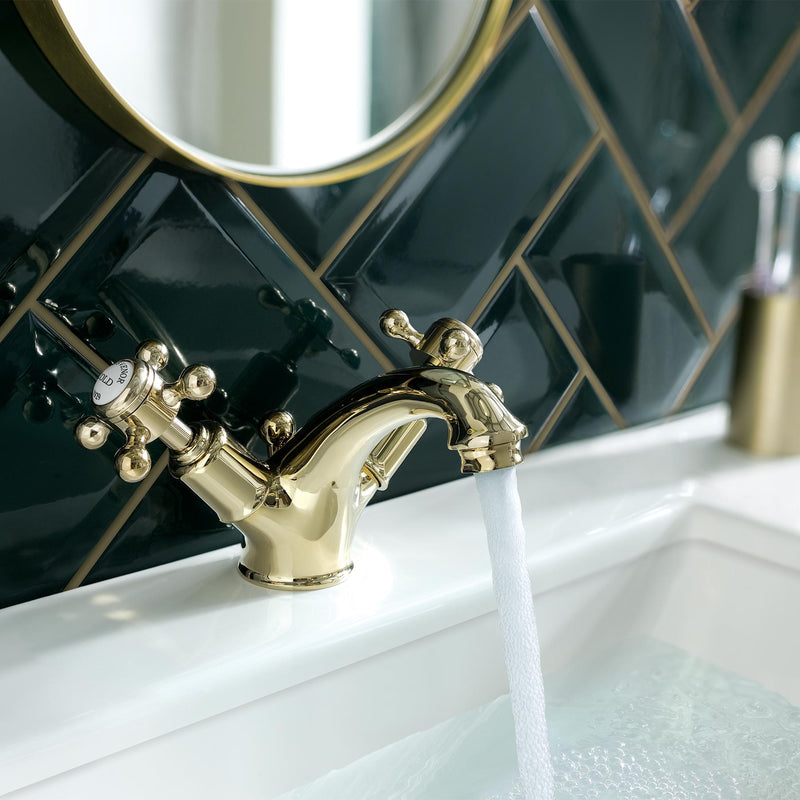 Chester Gold Cross Basin Taps with Pop Up Waste constructed from High-quality Materials, LP 0.2