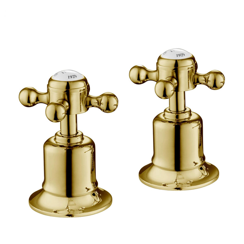 Chester Gold Cross Panel Valves 3/4 – Brass with nickel finishing – LP 0.2. Brushed gold wall mounted bathroom faucet resist corrosion and tarnishing, exceeding industry durability standards.