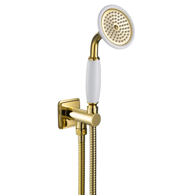 Chester Gold Cross water outlet and holder with hand-shower, side fixing, MP 0.5