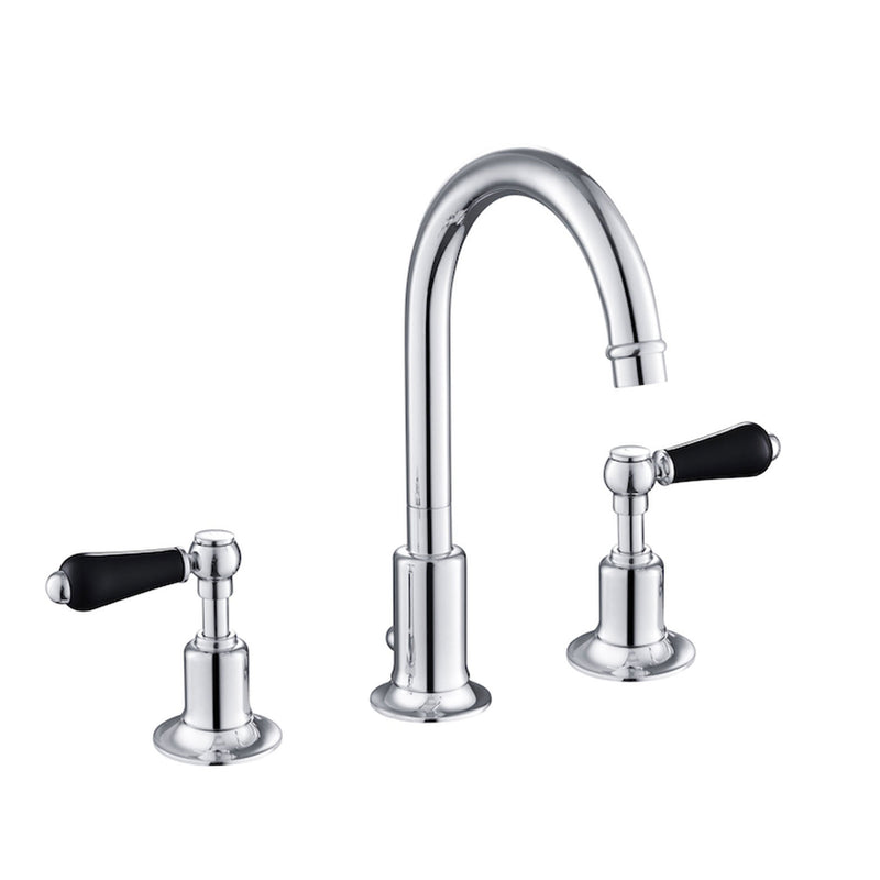 Chester Black Lever 3 Hole Basin Mixer [GB85191]