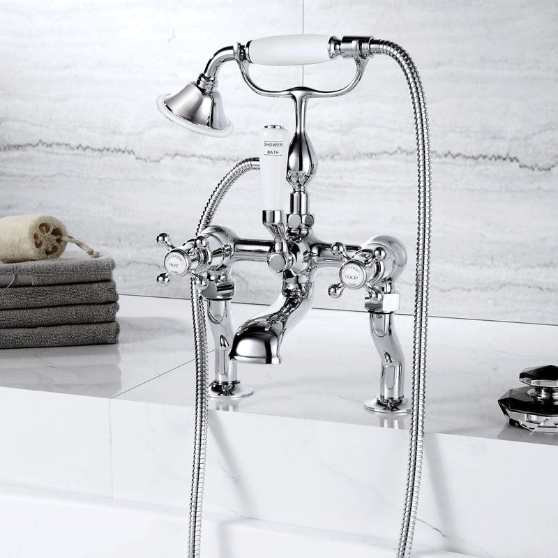 The Chester deck mounted bath mixer with shower handset provides a shower handset and connecting hose, while the flared spout is an angled drop
