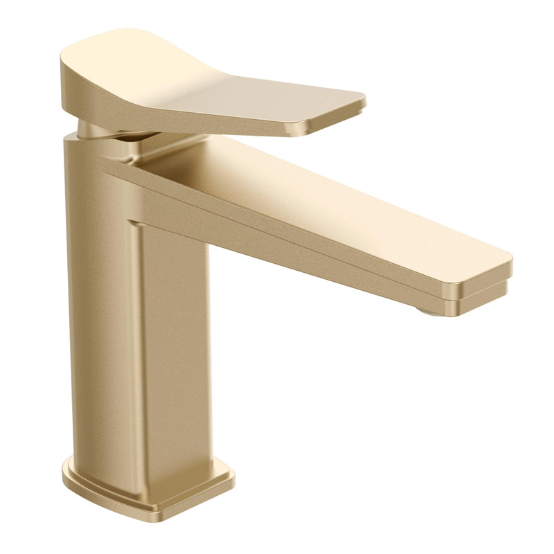 Contemporary Single Lever Bathroom Basin Taps with Brushed Gold Finish, made from Solid Brass and Ceramic Disc Leak-Proof Technology L.P 0.2