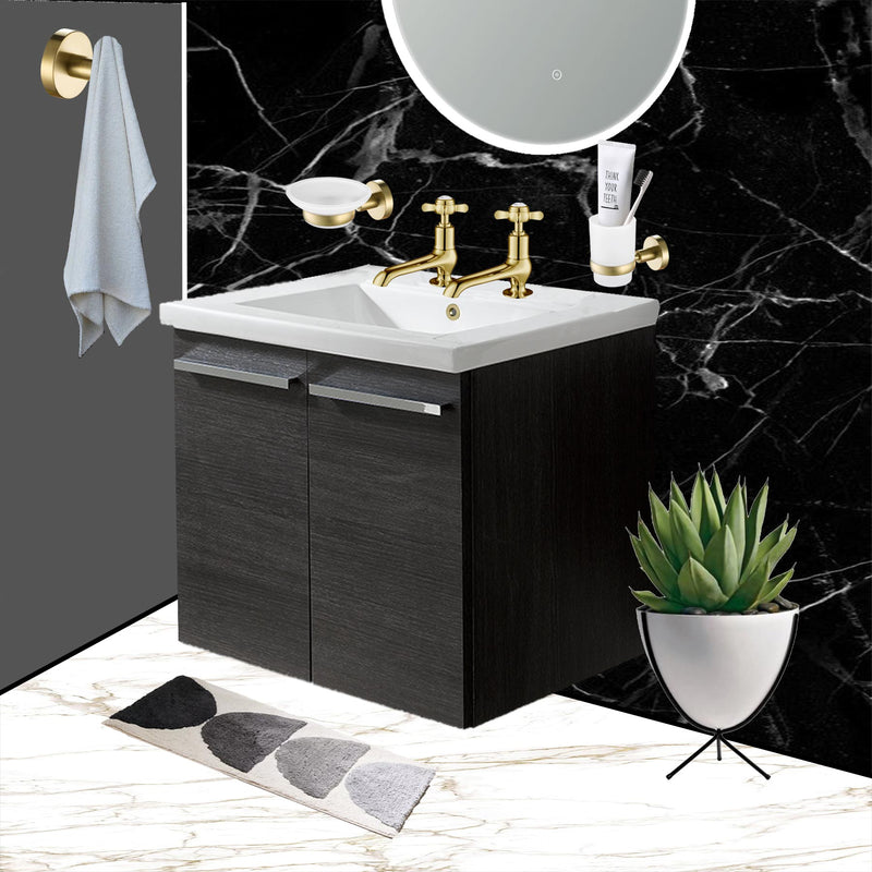 Pinch Gold Long Nose Basin Taps with matching gold soap dish and tumble and gold robe hook installed in a trending bathroom.