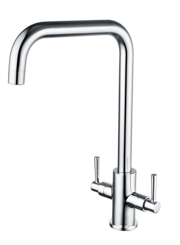 Edge Dual Twist Control Modern Mono Mixer Tap with Unique Long Square Swivel Spout - Chrome Height 367mm x Projection 203mm [EDG150Square]