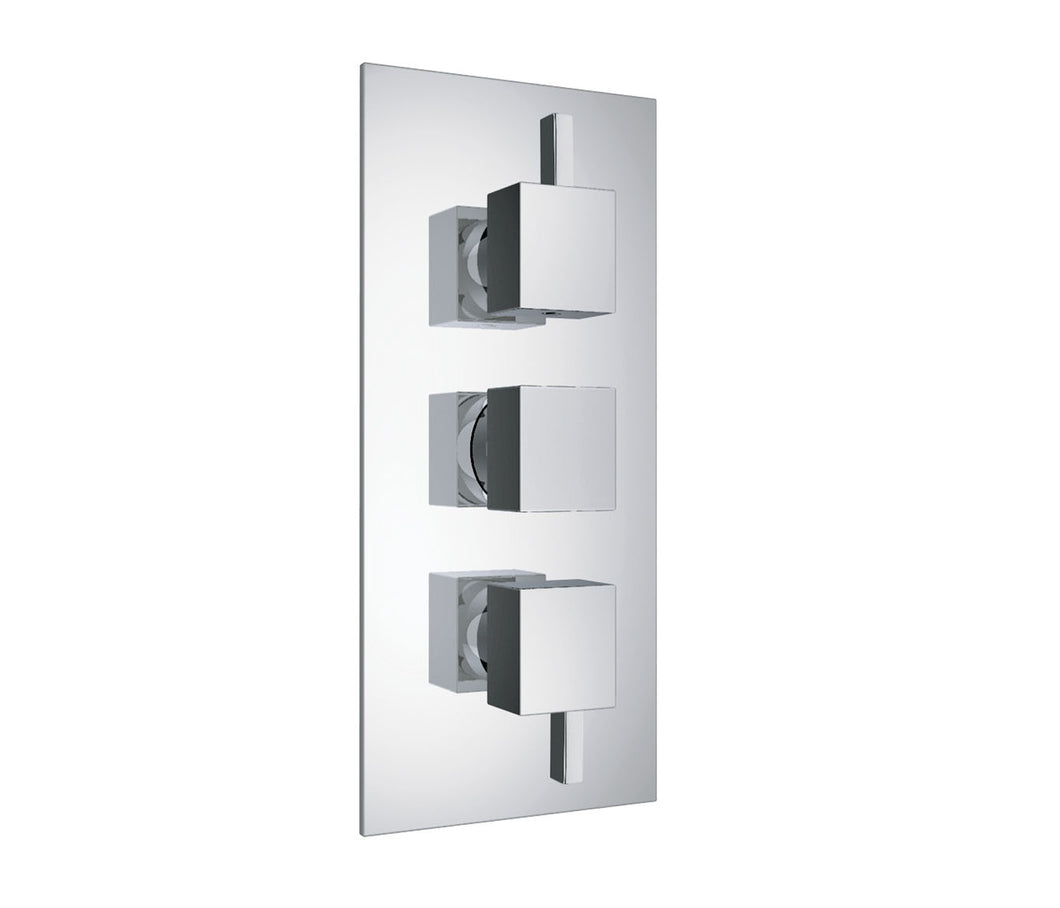 Gaia Chrome 3 - Outlet Square Thermostatic Concealed Shower Valve - Vertical
