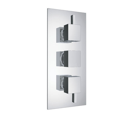 Gaia Chrome 3 - Outlet Square Thermostatic Concealed Shower Valve - Vertical [35691]