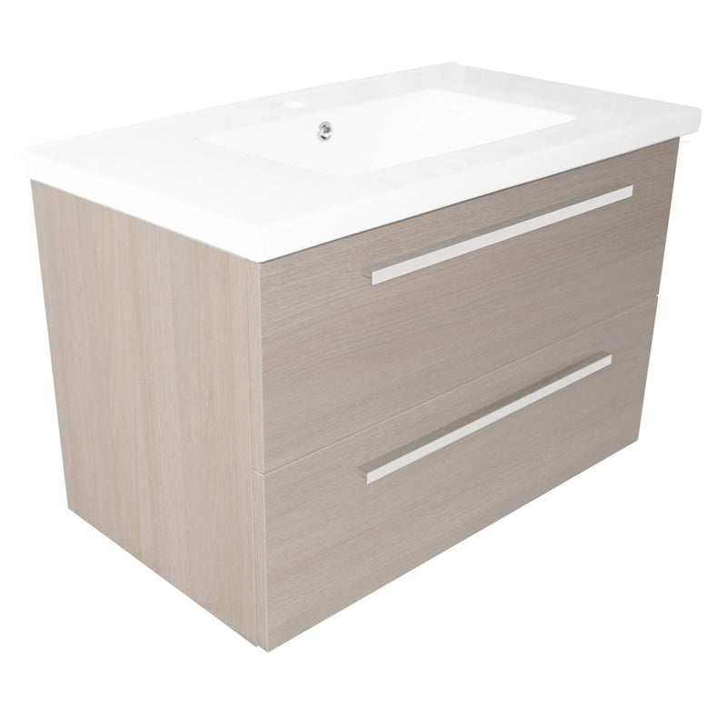 Wall mounted grey vanity unit with basin and two drawers from Tapron